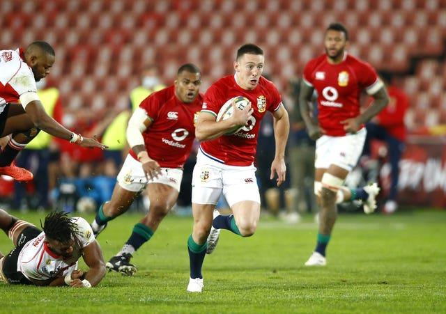 Adams, centre, ran in four tries against Emirates Lions in Johannesburg