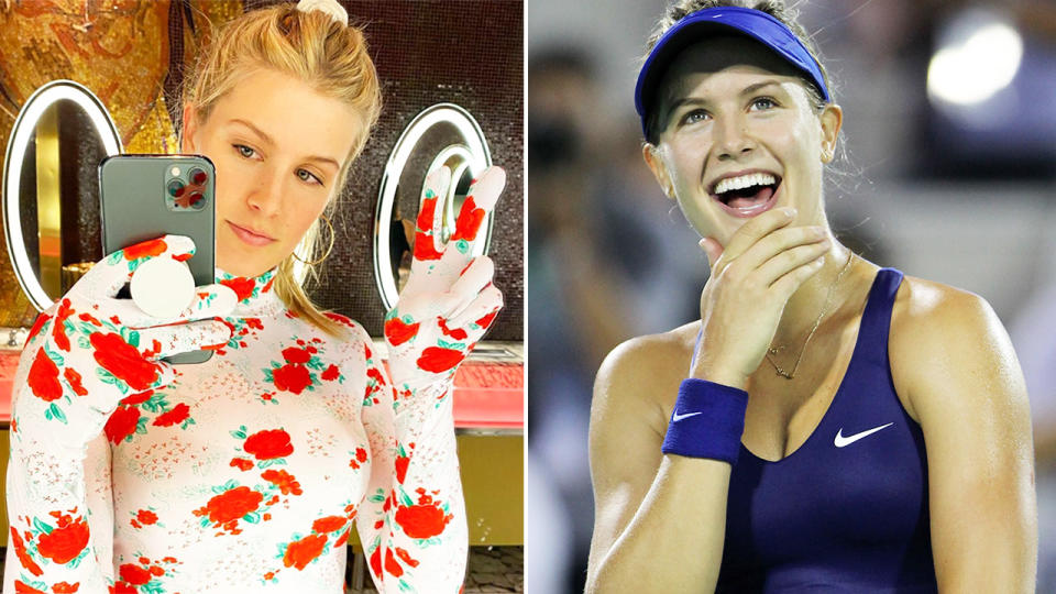 Eugenie Bouchard, pictured here on Instagram and the tennis court.