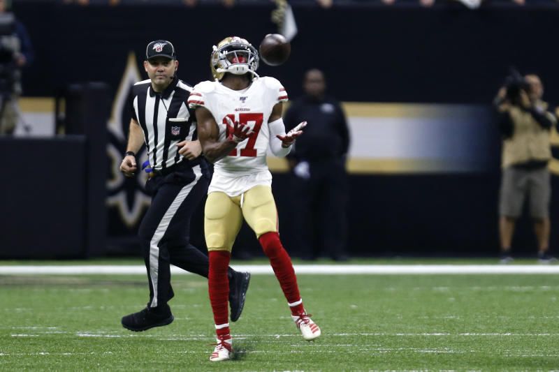 San Francisco 49ers wide receiver Emmanuel Sanders (17) pulls in touchdown reception in the first half an NFL football game against the New Orleans Saints in New Orleans, Sunday, Dec. 8, 2019. (AP Photo/Butch Dill)