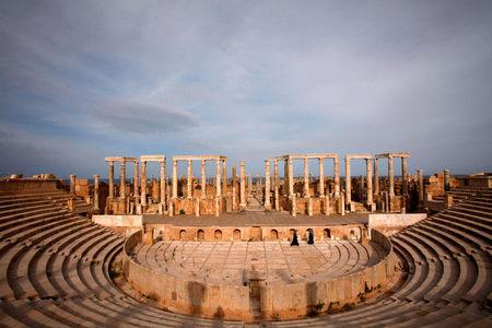 A view of Leptis Magna, a UNESCO World Heritage site on the Mediterranean coast of North Africa, some 120 km (75 miles) east of Tripoli, November 8, 2011. REUTERS/Youssef Boudlal/File Photo