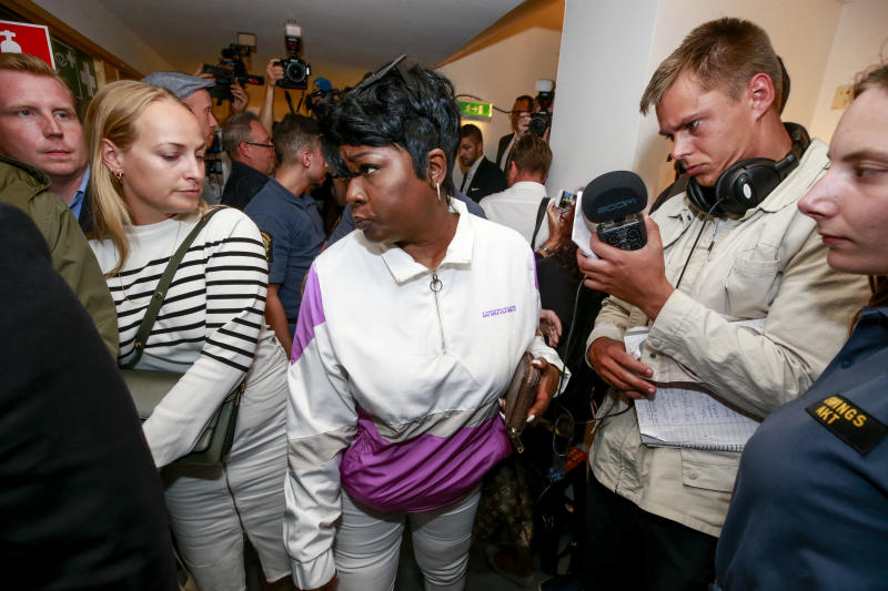 Renee Black (C), mother of US rapper ASAP Rocky, returns to the district court in Stockholm after lunch, July 30, 2019. - The 30-year-old artist, whose real name is Rakim Mayers, was arrested on July 3, 2019 along with three other people, following a street brawl in Stockholm on June 30. The musician's detention has stirred diplomatic tensions and fan outrage. (Photo by Fredrik PERSSON / TT News Agency / AFP) / Sweden OUT (Photo credit should read FREDRIK PERSSON/AFP/Getty Images)