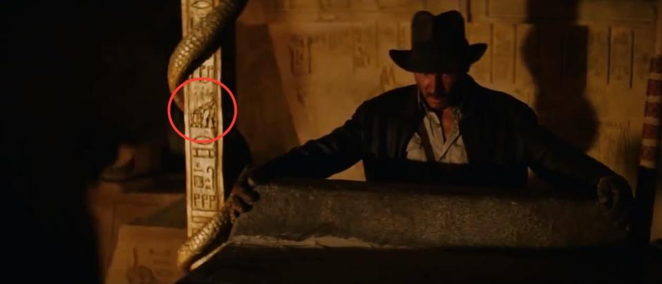 <p>The classic Lucas-Spielberg joint included hieroglyphics of R2-D2 and C-3PO in the Egyptian temple, visible as Han Solo — er. Indiana Jones — attempted to excavate the Ark of the Covenant. <i>(Credit: Paramount Pictures)</i></p>