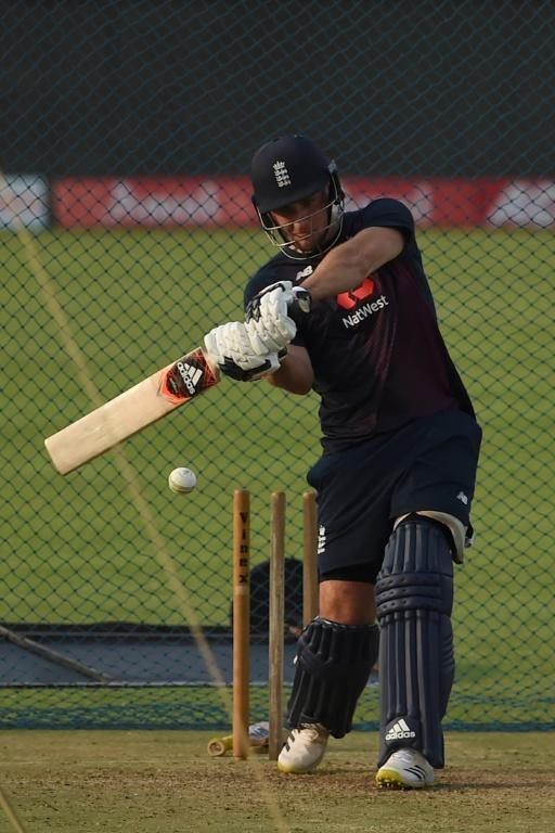 England's Liam Livingstone bats in the Pune nets on Thursday ahead of the second ODI against India