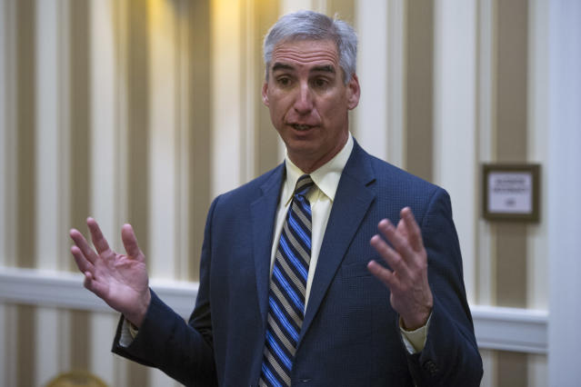 In this Jan. 16, 2015, file photo, Oliver Luck speaks with members of the media at the NCAA Convention in Oxon, Md. Luck is leaving his high-ranking position at the NCAA to become commissioner of the XFL, the second edition of professional wrestling mogul Vince McMahon's football league. (AP file photo)