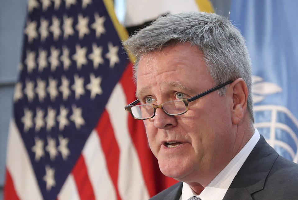 """FILE - In this Aug. 1, 2017, file photo, Scott Blackmun, CEO of the U.S. Olympic Committee, speaks at Yongsan Garrison, a U.S. military base in Seoul, South Korea. USA Gymnastics announced Friday, Jan. 26, 2018, that the remaining 18 USA Gymnastics board members, who are unpaid volunteers representing various threads of the sport across the country, will leave their positions. The announcement came two days after an open letter from USOC chief operating officer Scott Blackmun called for a """"full turnover of leadership."""" (AP Photo/Lee Jin-man, File)"""