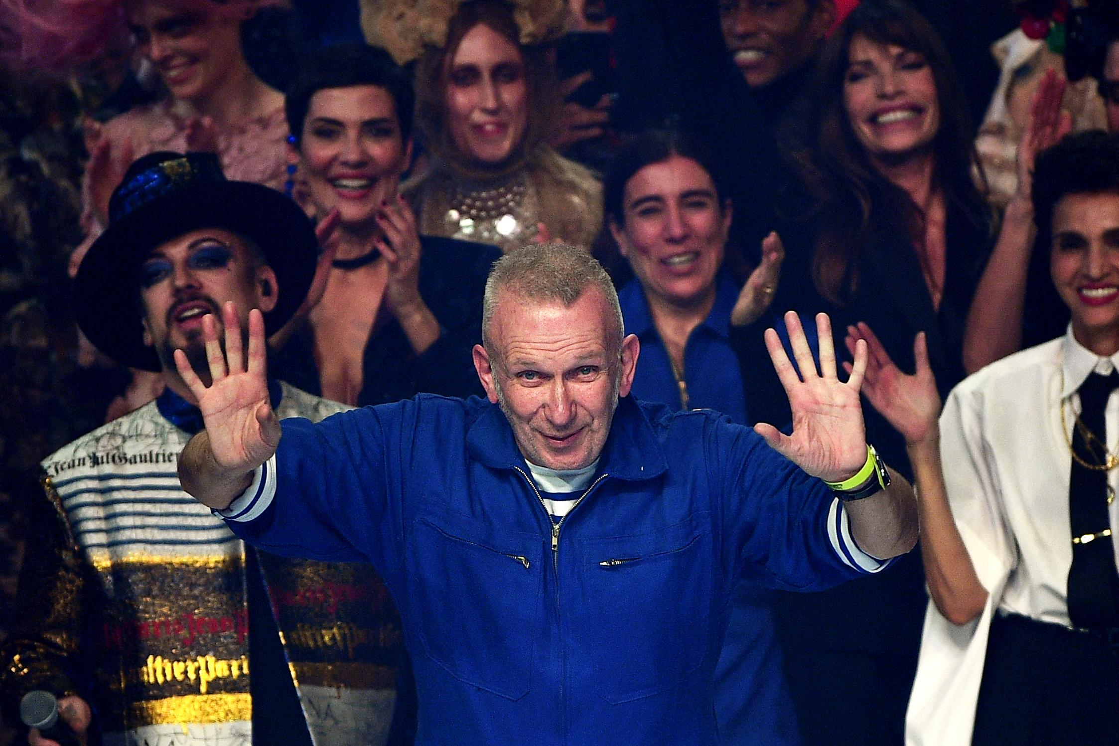 French designer Jean Paul Gaultier acknowledges the audience at the end of his Women's Spring-Summer 2020 Haute Couture collection fashion show in Paris, on January 22, 2020. [Photo: Getty]