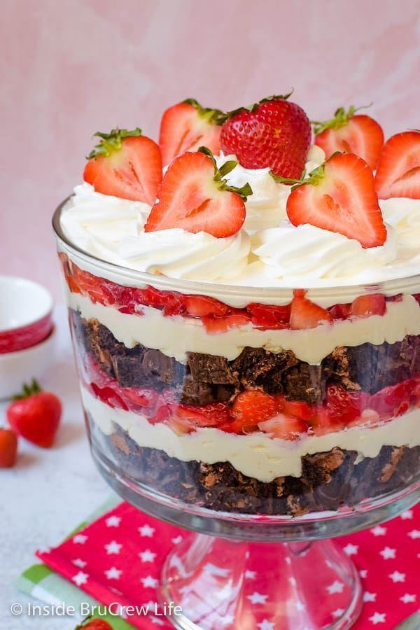 """<p>Make this trifle in only 20 minutes with zero bake time by layering fudgy cake, Cool Whip, and strawberries.</p><p><strong>Get the recipe at <a href=""""https://insidebrucrewlife.com/easy-no-bake-neapolitan-cheesecake-trifle-recipe/"""" rel=""""nofollow noopener"""" target=""""_blank"""" data-ylk=""""slk:Inside BruCrew Life"""" class=""""link rapid-noclick-resp"""">Inside BruCrew Life</a>.</strong></p><p><strong><strong><strong><strong><a class=""""link rapid-noclick-resp"""" href=""""https://www.amazon.com/Anchor-Hocking-Monaco-Trifle-Bowl/dp/B0002YSLXC/?tag=syn-yahoo-20&ascsubtag=%5Bartid%7C10050.g.2721%5Bsrc%7Cyahoo-us"""" rel=""""nofollow noopener"""" target=""""_blank"""" data-ylk=""""slk:SHOP TRIFLE BOWLS"""">SHOP TRIFLE BOWLS</a></strong></strong></strong><br></strong></p>"""