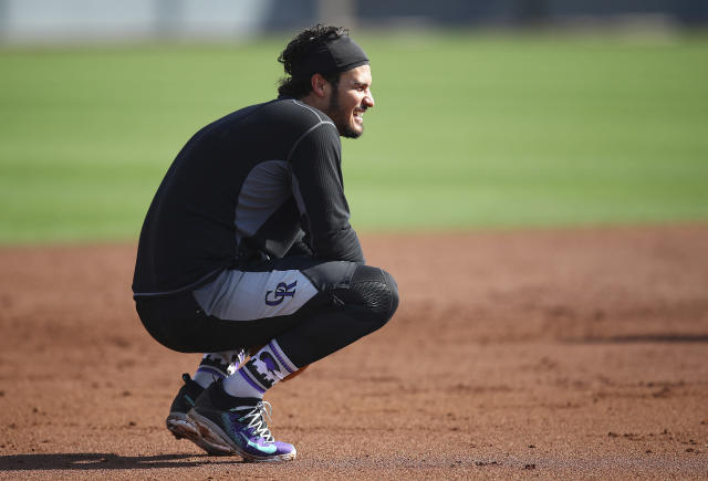 Colorado Rockies' Nolan Arenado during a spring training baseball practice on Saturday, Feb. 17, 2018 in Scottsdale, Ariz. (AP)