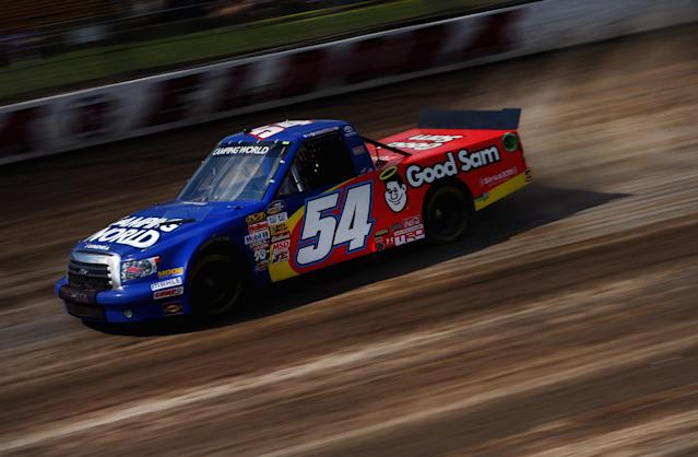 ROSSBURG, OH - JULY 23: Darrell Wallace Jr., drives the #54 Camping World/Good Sam Toyota, during practice for the NASCAR Camping World Truck Series inaugural Mudsummer Classic at Eldora Speedway on July 23, 2013 in Rossburg, Ohio. (Photo by Tom Pennington/Getty Images)