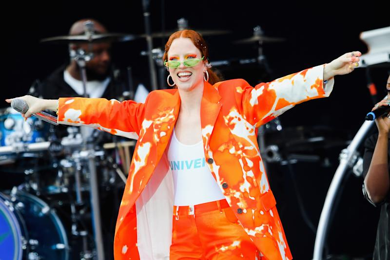 Jess Glynne performs on stage as she supports the Spice Girls on the opening night of their tour in Dublin on 24 May 2019 (Photo by Dave Hogan/Hulton Archive/Getty Images)