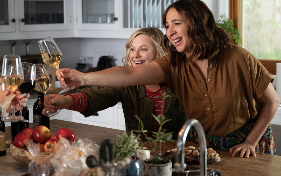"""<p><em>Wine Country</em> is Amy Poehler's feature directorial debut, and she also stars as Abby, a woman planning a birthday celebration and reunion weekend in Napa for her group of friends. Want to know who plays her pals? Well that would be SNL veterans Maya Rudolph, Rachel Dratch, Ana Gasteyer, Paula Pell, and Emily Spivey. Tina Fey also makes an appearance as their lonely Airbnb owner.</p><p><a class=""""link rapid-noclick-resp"""" href=""""https://www.netflix.com/title/80194950"""" rel=""""nofollow noopener"""" target=""""_blank"""" data-ylk=""""slk:Stream it here"""">Stream it here</a></p>"""