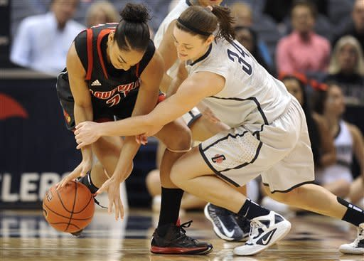 Connecticut's Kelly Faris, right, pressures Louisville's Bria Smith, left, during the first half of an NCAA college basketball game in Hartford, Conn., Tuesday, Jan. 15, 2013. (AP Photo/Jessica Hill)