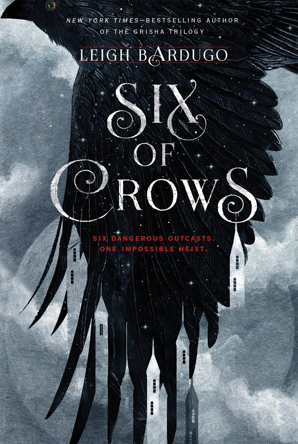 the cover for Six of Crows shows the outline of a crow and the text Six of Crows shows a