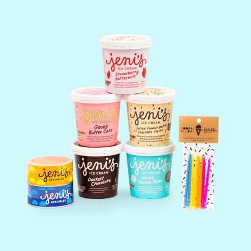 """<p><strong></strong></p><p>jenis.com</p><p><strong>$68.00</strong></p><p><a href=""""https://shop.jenis.com/collections/happy-birthday-collection/"""" target=""""_blank"""">Shop Now</a></p><p>If your girlfriend can't get enough ice cream, surprise them with a special birthday-themed ice cream treat. <a href=""""https://shop.jenis.com/collections/happy-birthday-collection/"""">The Happy Birthday Collection from Jeni's</a> features five ice creams, sprinkles, and candles. And five different, delicious ice creams. </p>"""