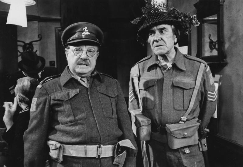 Actors Arthur Lowe (left) and John Le Mesurier in a scene from episode 'Man of Action' of the television sitcom 'Dad's Army', May 7th 1974. (Photo by Don Smith/Radio Times/Getty Images)