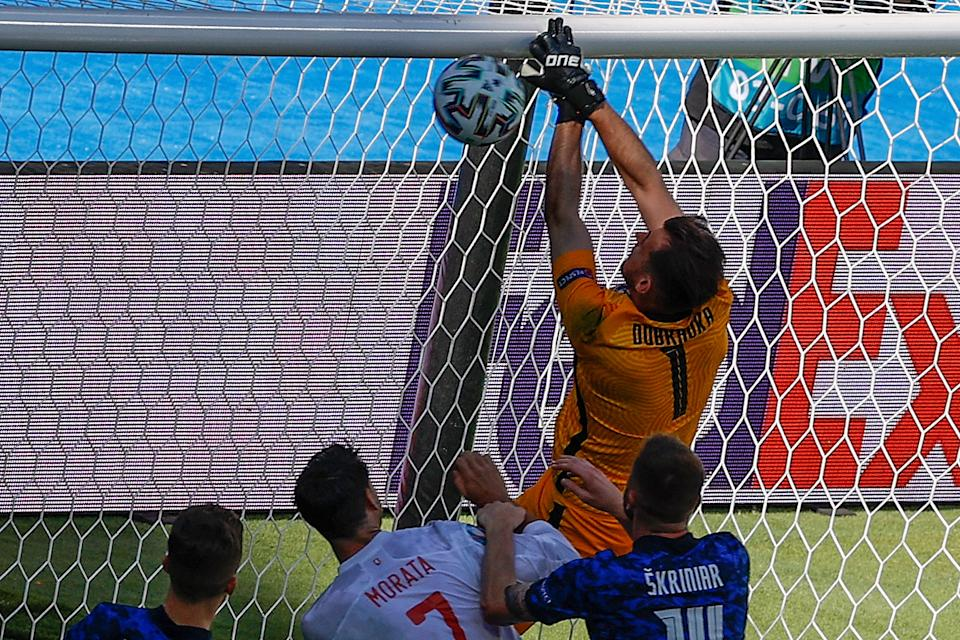Martin Dubravka scores an own goal against Spain at Euro 2020. (Photo by JULIO MUNOZ/POOL/AFP via Getty Images)
