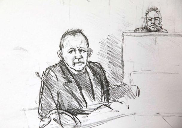 PHOTO: A courtroom sketch shows Peter Madsen during the trial regarding the killing of Swedish journalist Kim Wall in Copenhagen, Denmark, April 25, 2018. (Anne Gyrithe Sch'tt/Ritzau Scanpix via AP)