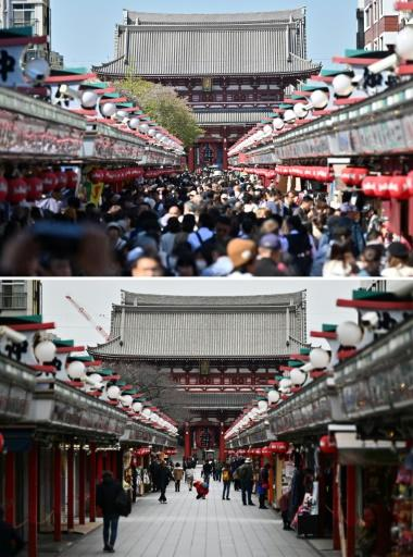Visitors to the Senso-ji temple in Tokyo's Asakusa district are well down