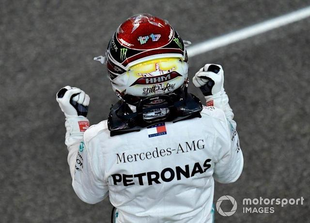 """Lewis Hamilton, Mercedes AMG F1, 1st position, celebrates victory <span class=""""copyright"""">Andy Hone / LAT Images</span>"""