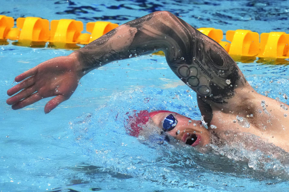 FILE - In this July 21, 2021, file photo, Adam Peaty of Britain exercises swims during a training session at the Tokyo Aquatics Centre at the 2020 Summer Olympics, in Tokyo, Japan. Arno Kamminga, of the Netherlands, says he has the tactics to beat the most heavily favored swimmer at the Olympics: Peaty. (AP Photo/Matthias Schrader, File)