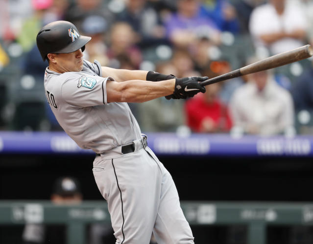 "<a class=""link rapid-noclick-resp"" href=""/mlb/teams/mia"" data-ylk=""slk:Miami Marlins"">Miami Marlins</a>' J.T. Realmuto highlights this week's look at fantasy risers and fallers. (AP Photo)."