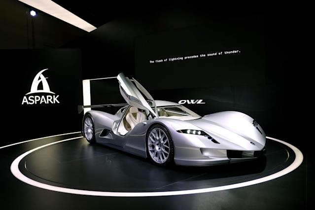 <p><strong>Aspark Owl</strong><br>This Japanese-made vehicle doesn't look like your typical electric car, with gull-wing doors and a low centre of gravity (sitting just 990mm off the ground). Oh, and it accelerates from 0 to 62 mph in two seconds. Did I mention that this is Aspark's first car? Anticipated launch year: Unknown. (Photo by Thomas Lohnes/Getty Images) </p>