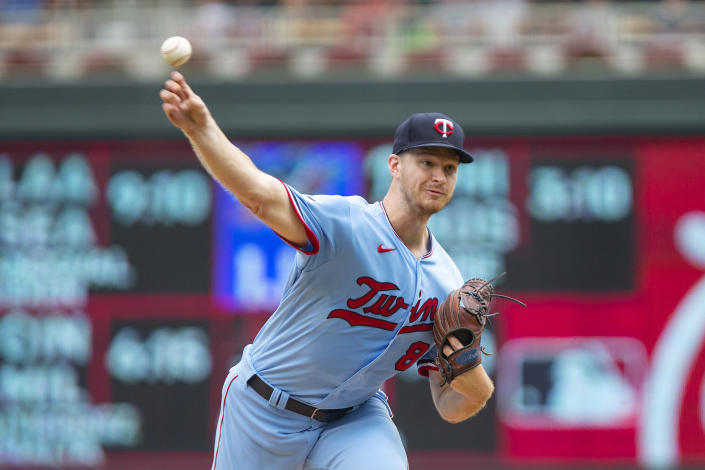 Minnesota Twins starting pitcher Bailey Ober throws to the Detroit Tigers in the first inning of a baseball game, Saturday, July 10, 2021, in Minneapolis. (AP Photo/Andy Clayton-King)