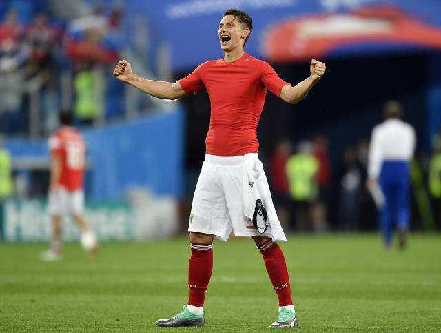 Russia's Ilya Kutepov celebrates after the group A match between Russia and Egypt at the 2018 soccer World Cup in the St. Petersburg stadium in St. Petersburg, Russia, Tuesday, June 19, 2018. (AP Photo/Martin Meissner)