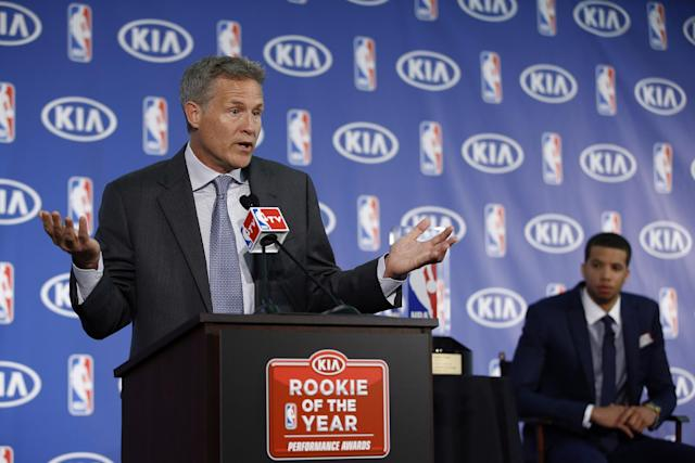 Not even 76ers coach Brett Brown knows what's in store for his encore campaign. (AP Photo)
