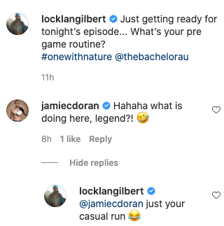 Fellow Bachie personality Jamie Doran quizzed Locky about his nude jog. Photo: Instagram/locklangilbert.