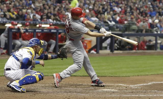 St. Louis Cardinals' Paul Goldschmidt hits a two-run home run during the seventh inning of a baseball game against the Milwaukee Brewers Friday, March 29, 2019, in Milwaukee. (AP Photo/Morry Gash)