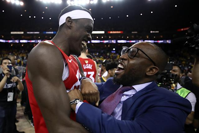 Pascal Siakam #43 of the Toronto Raptors celebrates his teams win victory over the Golden State Warriors in Game Six to win the 2019 NBA Finals at ORACLE Arena on June 13, 2019 in Oakland, California. (Photo by Ezra Shaw/Getty Images)