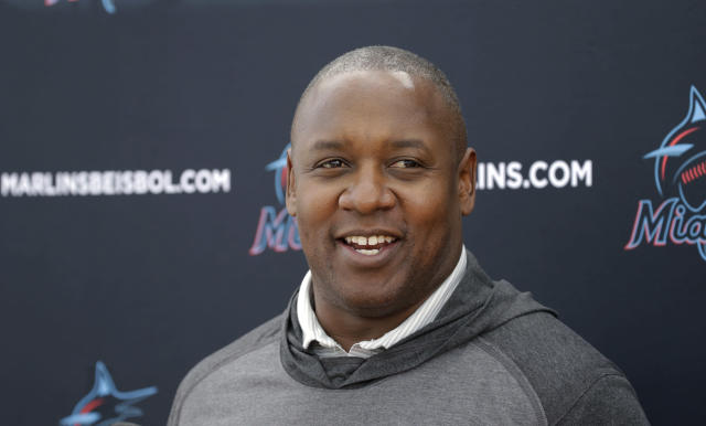 Miami Marlins president of baseball operations Michael Hill talks to the media during the first full-squad spring training baseball camp Monday, Feb. 17, 2020 at Roger Dean Stadium on Monday, February 17, 2020 in Jupiter, Fla. (David Santiago/Miami Herald via AP)