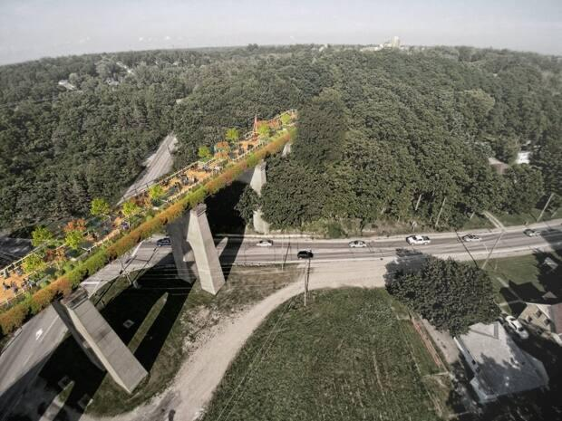 A rendering of what the trail over Half Mile Bridge could look like. Williams imagines a trail that connects Thorncliffe Park to other Don Valley attractions, and includes Instagram-worthy city views.