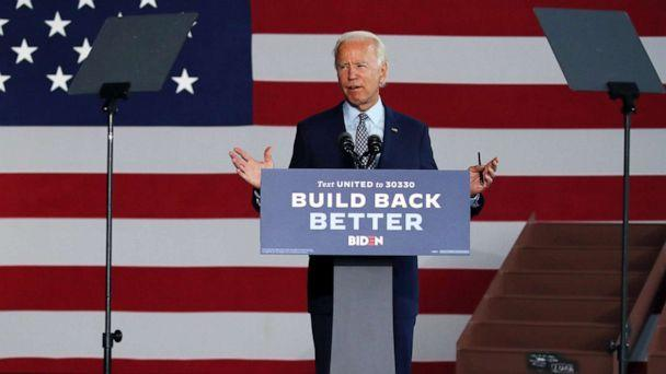 PHOTO: The presumptive Democratic presidential nominee Joe Biden speaks at McGregor Industries on July 9, 2020, in Dunmore, Pa. (Spencer Platt/Getty Images)