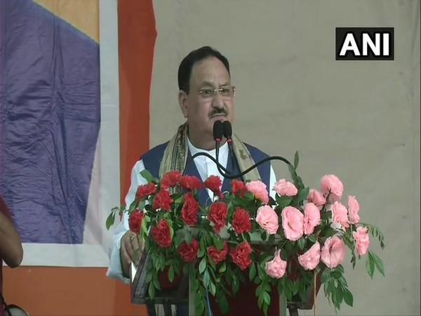 BJP national president JP Nadda speaking during an election rally here on Friday.