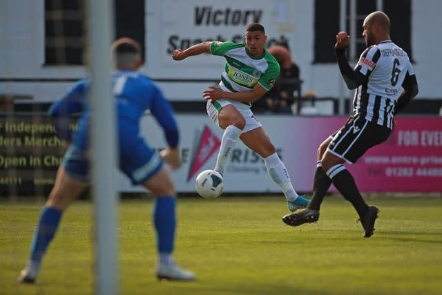 Yeovil's Courtney Duffus, centre, takes a shot during a match against Chorley (Zac Goodwin/PA)