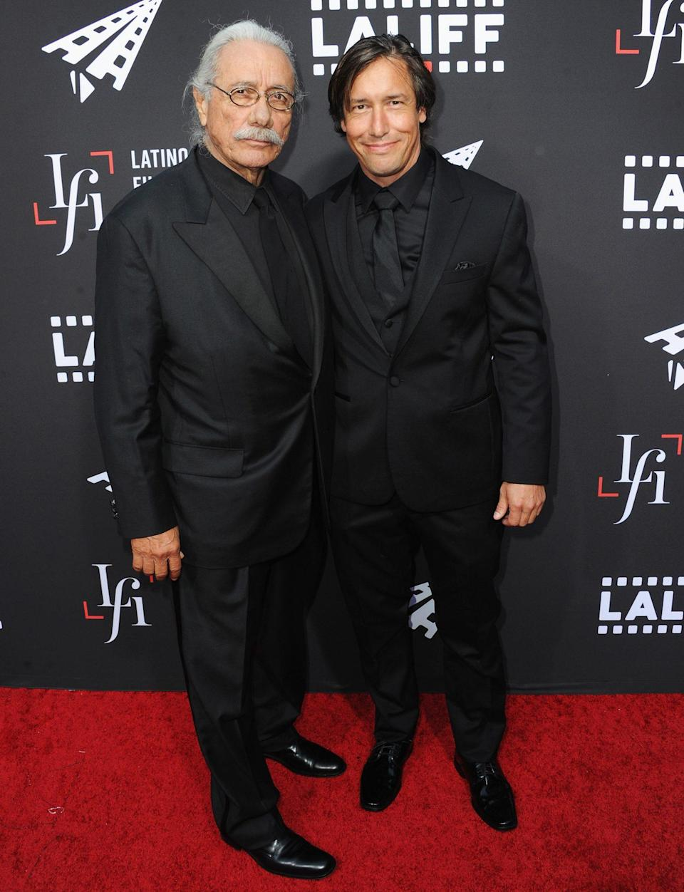 <p>Edward James Olmos and son Bodie coordinate on Wednesday night at the 2021 Los Angeles Latino International Film Festival opening night premiere of <em>7th & Union</em> at the TCL Chinese Theatre in Hollywood. </p>