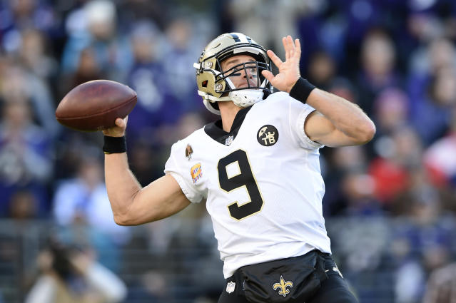 New Orleans Saints quarterback Drew Brees' first-half touchdown to Benjamin Watson was the 500th of his career. (AP)