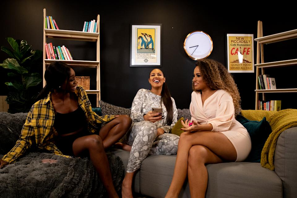 """LONDON, ENGLAND - NOVEMBER 18: (Embargoed until 09:00 on 2nd Dec 2019) (L-R) Yewande Biala, Anna Vakili and Amber Rose Gill during the """"Reality Check"""" podcast photocall at MidCity Place on November 18, 2019 in London, England. (Photo by Milly Grange-Bennett/Getty Images for Yahoo)"""