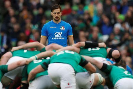 Rugby Union - Six Nations Championship - Ireland vs Italy - Aviva Stadium, Dublin, Republic of Ireland - February 10, 2018 Italy's Mattia Bellini watches over a scrum REUTERS/Russell Cheyne
