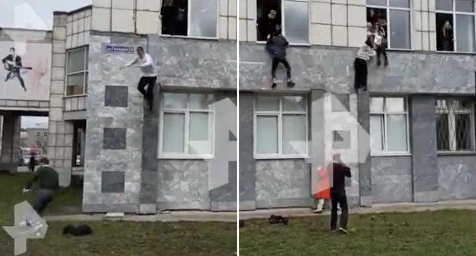 People climb out windows at Perm State University in Russia to escape a gunman.