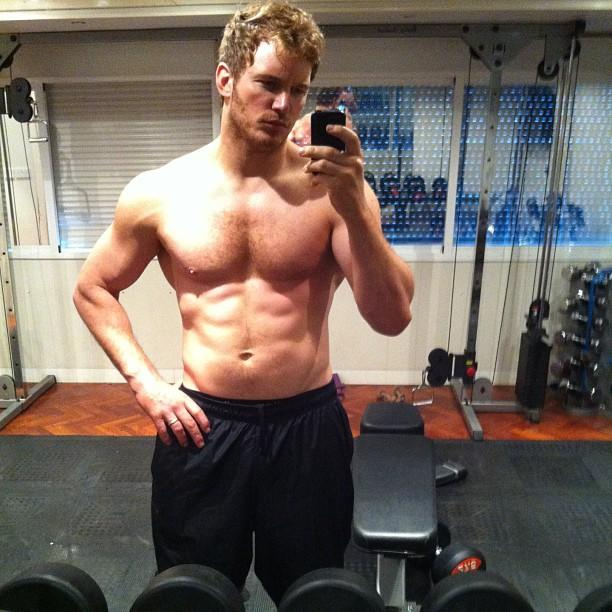 "Is that you, Chris Pratt?! Our jaws dropped when we saw how hot the ""Parks and Recreation"" hunk looked in <a href=""http://instagram.com/p/bdD2lCDHHx/"" target=""_blank"">his Instagram gym selfie</a> while prepping for his role in Marvel's ""Guardians of the Galaxy."" We're guessing wife Anna Faris doesn't mind either. The only one who isn't a fan of Pratt's ripped physique? His ""Parks and Recreation"" co-star, Aubrey Plaza, who claims she prefers her on-screen love when he's a bit more plump!"