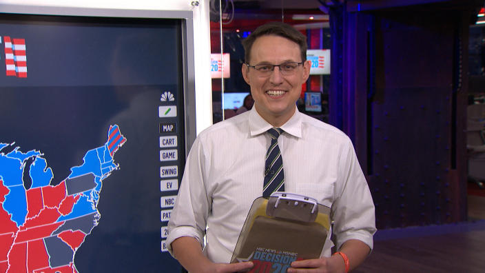 THE TONIGHT SHOW STARRING JIMMY FALLON -- Episode 1347A -- Pictured in this screengrab: NBC News Journalist Steve Kornacki during an interview on November 4, 2020 -- (Photo By: NBC/NBCU Photo Bank via Getty Images)