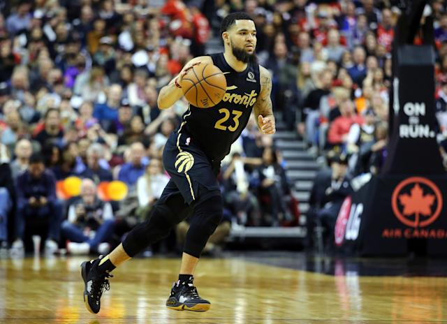"""<a class=""""link rapid-noclick-resp"""" href=""""/nba/players/5727/"""" data-ylk=""""slk:Fred VanVleet"""">Fred VanVleet</a> will be the top point guard on the market. (Photo by Vaughn Ridley/Getty Images)"""