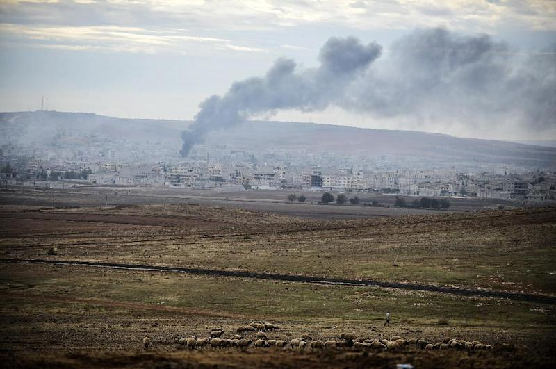 Smokes rises from the Syrian town of Kobane, also known as Ain al-Arab, as it is seen from the Turkish village of Mursitpinar, on October 19, 2014 (AFP Photo/Bulent Kilic)