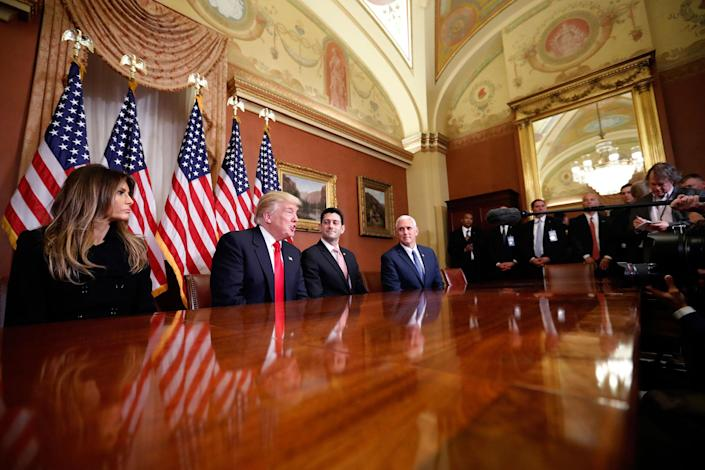 <p>President-elect Donald Trump, accompanied by his wife, Melania; Vice President-elect Mike Pence; and House Speaker Paul Ryan, speaks after a meeting with Ryan, Thursday, Nov. 10, 2016, in the speaker's office on Capitol Hill in Washington. (AP Photo/Alex Brandon) </p>