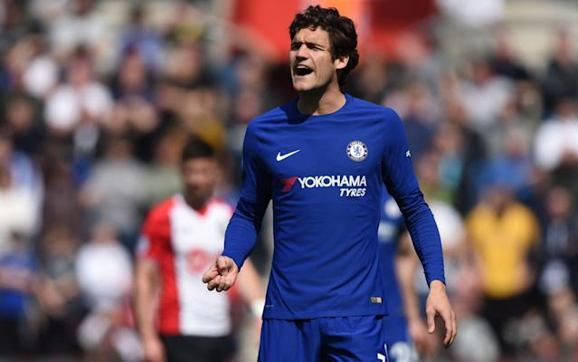 Chelsea face the prospect of losing Marcos Alonso for the next three games, including their FA Cup semi-final tie against Southampton, after the left-back was charged with violent conduct. Alonso's apparent stamp on Shane Long in Chelsea's dramatic 3-2 Premier League victory over Southampton went unpunished, but he has now been charged retrospectively by an FA panel. Alonso has until 6pm on Wednesday night to respond to the charge, with fifth-placed Chelsea travelling to seventh-placed Burnley on Thursday night ahead of Sunday's FA Cup semi-final date against the Saints. Should he get a three-game ban, then Alonso would also miss the Premier League trip to Swansea City on April 28. The Burnley and Southampton games are particularly important for Chelsea and head coach Antonio Conte, as they try to salvage what has been a disappointing season. Alonso was caught on camera fouling Shane Long Credit: SKY SPORTS With Champions League qualification almost out of their reach, the Blues are aiming to finish as high as possible in the League and win the FA Cup. The loss of Alonso would be a big blow to Conte, as January signing Emerson Palmieri has only started two games all season, one of which has been for Chelsea, following a serious knee injury he suffered with Roma.