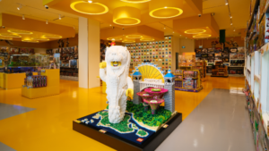 The brick statues in the store. Photo: LEGO Group