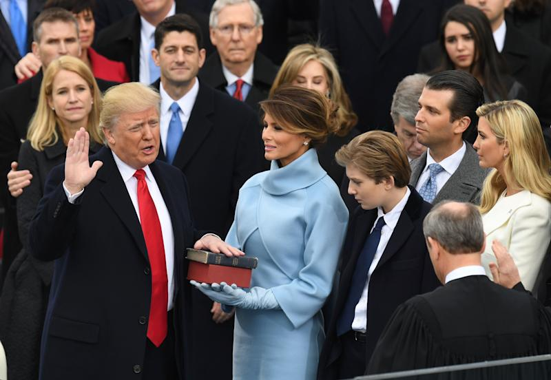 US President-elect Donald Trump is sworn in as President on January 20, 2017 at the US Capitol in Washington, DC. (Photo: MARK RALSTON/AFP/Getty Images)